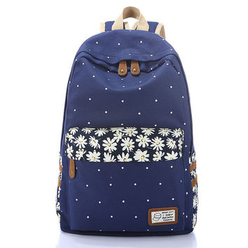 Women designer backpack high quality bookbag floral canvas cute book bags printing Schoolbag backpacks for teenagers