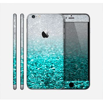 The Aqua Blue & Silver Glimmer Fade Skin for the Apple iPhone 6 Plus