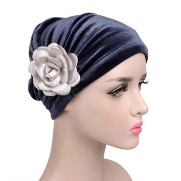 winter hat Soft Velvet Roll Flower Cancer Chemo Hat Beanie Scarf Turban Head Wrap Cap women's hats