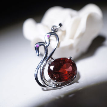 Sterling Silver Box Chain Natural Red Garnet Gemstone Couple Swan Necklace
