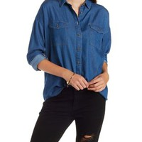 Dropped Shoulder Denim Chambray Shirt