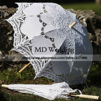2015 Embroidered White/Ivory Battenburg Lace Parasol Umbrella Wedding Umbrella Wedding Bridal Decorations Free Shipping