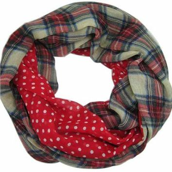 VONESC6 Free Shipping 2016 New Fashion Navy Beige Tartan Dotted and Plaid Check  Infinity Scarf Snood Scarves For Women /Ladies,9 Color