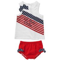 Koala Kids Girls 2 Piece White/Red 4th of July 'Lil' Miss Cutie' Tank Top and Diaper Cover Set