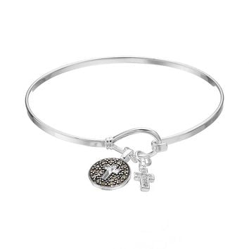 Silver Luxuries Marcasite & Crystal Cross Charm Bangle Bracelet (White)