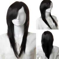 Hot Sell New Fashion Natural Black Mix Curly Women's Lady's Hair Wig Wigs LS003
