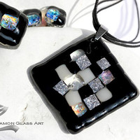 Black velvet, mosaic glass jewelry set