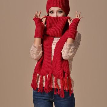 Thick Acrylic Winter Hat Women's Hat Scarf Gloves Set Nice Tocas Feminina Female Knit Scarves Sets Outdoor Warm Beanie SC5513+30