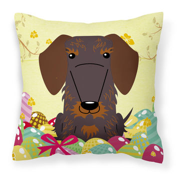 Easter Eggs Wire Haired Dachshund Chocolate Fabric Decorative Pillow BB6129PW1414