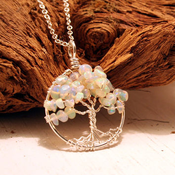 Petite Sterling Silver Tree Of Life Opal Necklace Sterling Chain Wire Wrapped Pendant Jewelry October Birthstone Series