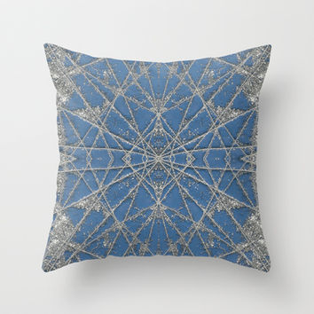 Snowflake Blue Throw Pillow by Project M
