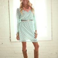 Shut Down Chevron Dress Mint