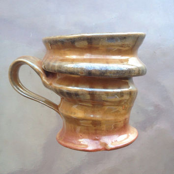 Glazed Pottery Mug, Stoneware Mug, Abstract Mug, Pottery Mugs, Textured Mug, Unique Mug, Spiral Shape Mug, Earthy Colors Mug, Clay Mug