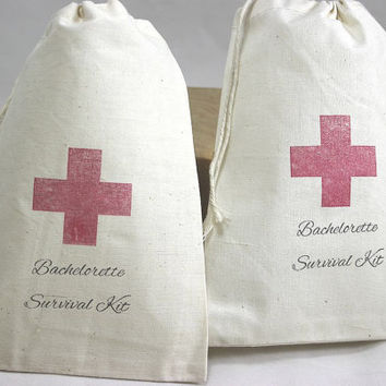 15 Bachelorette Survival Kit / Red Cross - Organic Cotton Drawstring Bags - Great for Bachelorette 5x7 inch