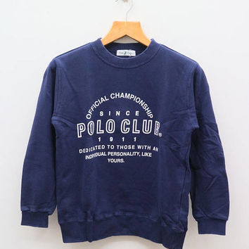 Vintage POLO Club Offical Championship Blue Sweatshirt Sweater Size M