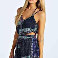 Naomi Strappy Cut Out Moroccan Print Playsuit