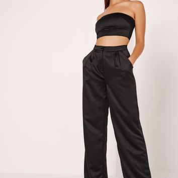 Missguided - Satin Wide Leg Trousers Black