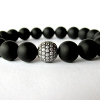 Mens Matt Onyx Bracelet, Micro Pave Bracelet, Onyx Jewellery, Bracelet for Men, Mens Beaded Jewellery, Mala Bracelet, Stretch Bracelet