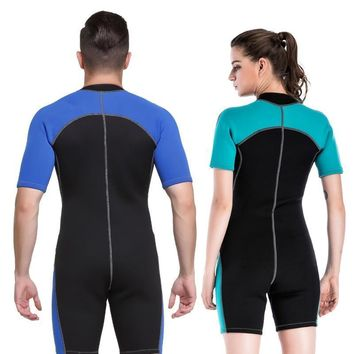 Neoprene Short Sleeve Deep Diving Surfing One-Piece Thicken Swimsuit