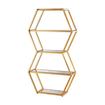1114-208 Vanguard Book Shelf In Gold Leaf And Clear Mirror
