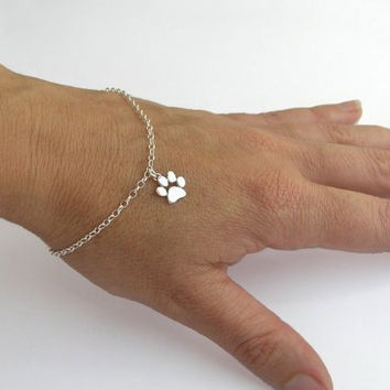 Paw Print Bracelet - Sterling Silver Paw Charm - Cat and Dog Paw - Hand Cut