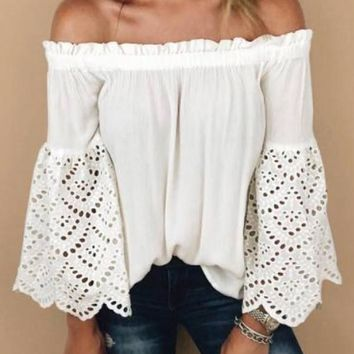 New White Plain Lace Cut Out Off Shoulder Going out Casual Blouse
