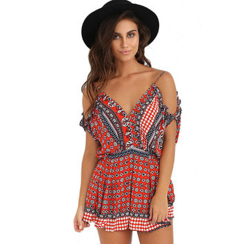 Fashion V neck raglan sleeve Off the Shoulder frenal Print Ruffles Loose Backless drape women Jumpsuits