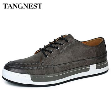Tangnest 2017 New Fashion Korean Style Men Shoes Casual Lace Up Mens Flat Shoes Vintage Artifical Leather Shoe Size 38-44 XMB509