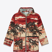 SAINT LAURENT HOODED BAJA CARDIGAN IN RED, YELLOW AND BLACK PALMS AT SUNSET WOVEN COTTON, POLYESTER AND ACRYLIC | YSL.COM