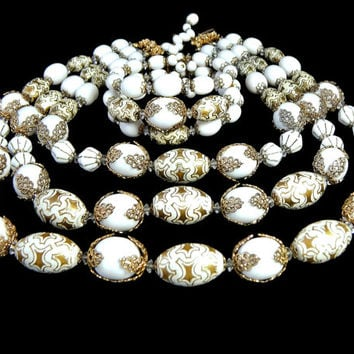 Hobe Jewelry Set Bead Multi Strand Necklace and Coil Wire Bracelet Designer Signed