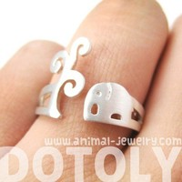 Cute Elephant Under The Tree Animal Shaped Ring in Silver Sizes 5 to 8 US from Dotoly Plus