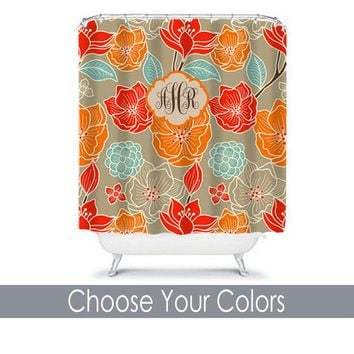Floral SHOWER CURTAIN, Orange Aqua Red Tan, Custom MONOGRAM Personalized, Floral Bathroom Decor, Bath Towel, Plush Bath Mat