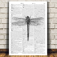 Dragonfly decor Insect poster Bug print Modern print RTA466