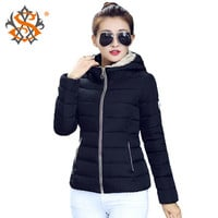 2015 Winter Jacket Women Hooded Parka Slim Cotton-Padded High Neck Candy Color Cotton Jacket Coat Plus Size z84