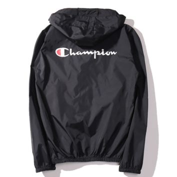 """Champion""new thin men and women sunscreen beach outdoor sports jacket Black"