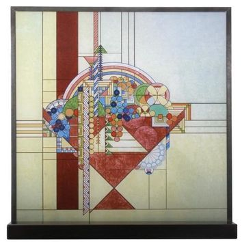 May Basket Abstract Stained Glass with Stand by Frank Lloyd Wright 10H