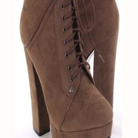 Brown Faux Suede Lace Up Tie Closed Toe Platform Booties