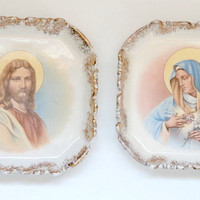 vintage (2) Jesus and Mary religious collectible plates with golf leaf rims~Mother Mary Jesus Christ antique retro ceramic wall hangings