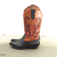 Vintage LIZARD SKIN Leather Cutout Tri Tone Cowboy Boots // Red Cognac Black Brown // Western Biker Southwestern Boho // Women's US 5.5