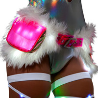 Light up Faux Fur Woobie Satchel Fanny Pack Belt