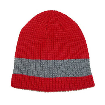 CTM® Mens Double Layer Stripe Waffle Knit Hat, Red