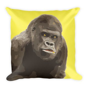 Gorilla Yellow Square Pillow Art