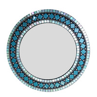 Round Wall Mirror - Teal Aqua Turquoise