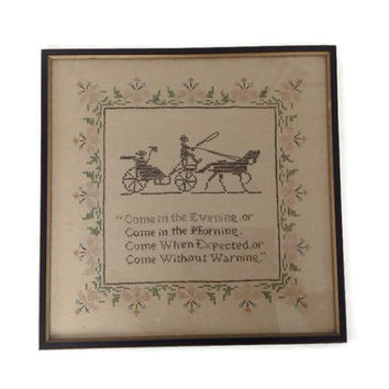 Vintage Embroidered Wall Decor-Home Welcome Embroidery-Guest-Horse and Buggy-Embroidered Sampler-Framed-Flowers-Poem-Poetry-Cross Stitch