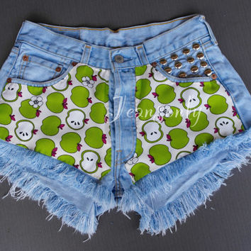 High wasited shorts Green Apple shorts Hipster Tumblr Clothing