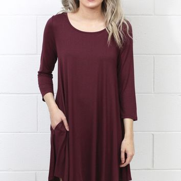 Long Sleeve Loose Fit Swing Dress w/ Pockets {Maroon}