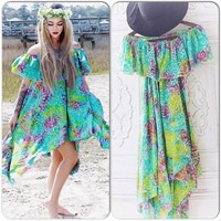 Sm M Boho Batik Dress, Bohemian Style Off Shoulder Dress, Hippie Sundress, Romantic Ruffle Boho Sundress, Off Shoulder, True Rebel Clothing