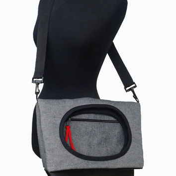Large shoulder, messenger bag, travel bag, cross body, women messenger, everyday grey purse - TEL AVIV