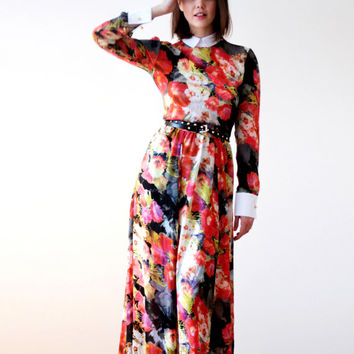 Summer woman maxi dress\Floral pattern\Virginia dream dress\White cuff\white collar\Evening dress