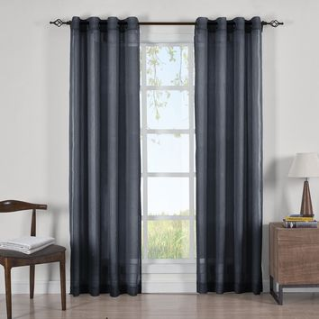 NAVY Abri Grommet Crushed Sheer Curtain Panels (Two Panels )